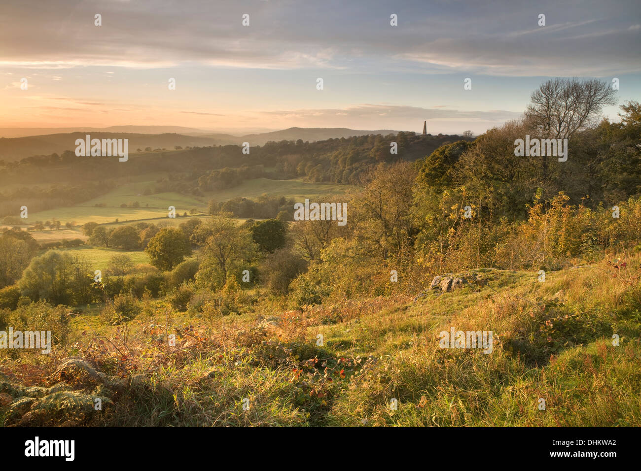 This photograph was taken from Midsummer Hill on the Malvern Hills, Herefordshire, at sunset. Stock Photo