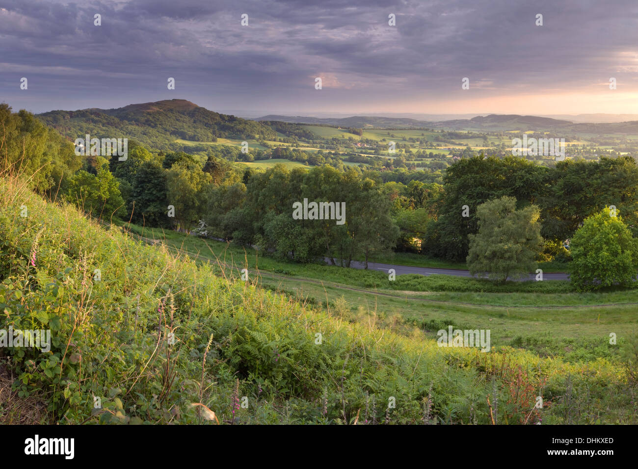 The B4232 leading to British Camp from the side of Pinnacle hill, Malvern Hills, Worcestershire at sunset. Stock Photo