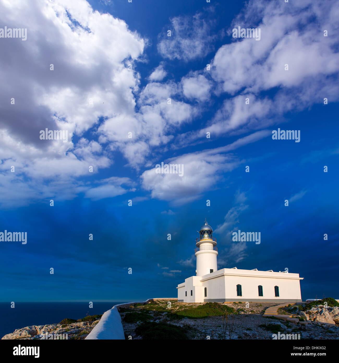 Menorca sunset in Faro Far de Caballeria Lighthouse at Balearic Islands es Mercadal - Stock Image