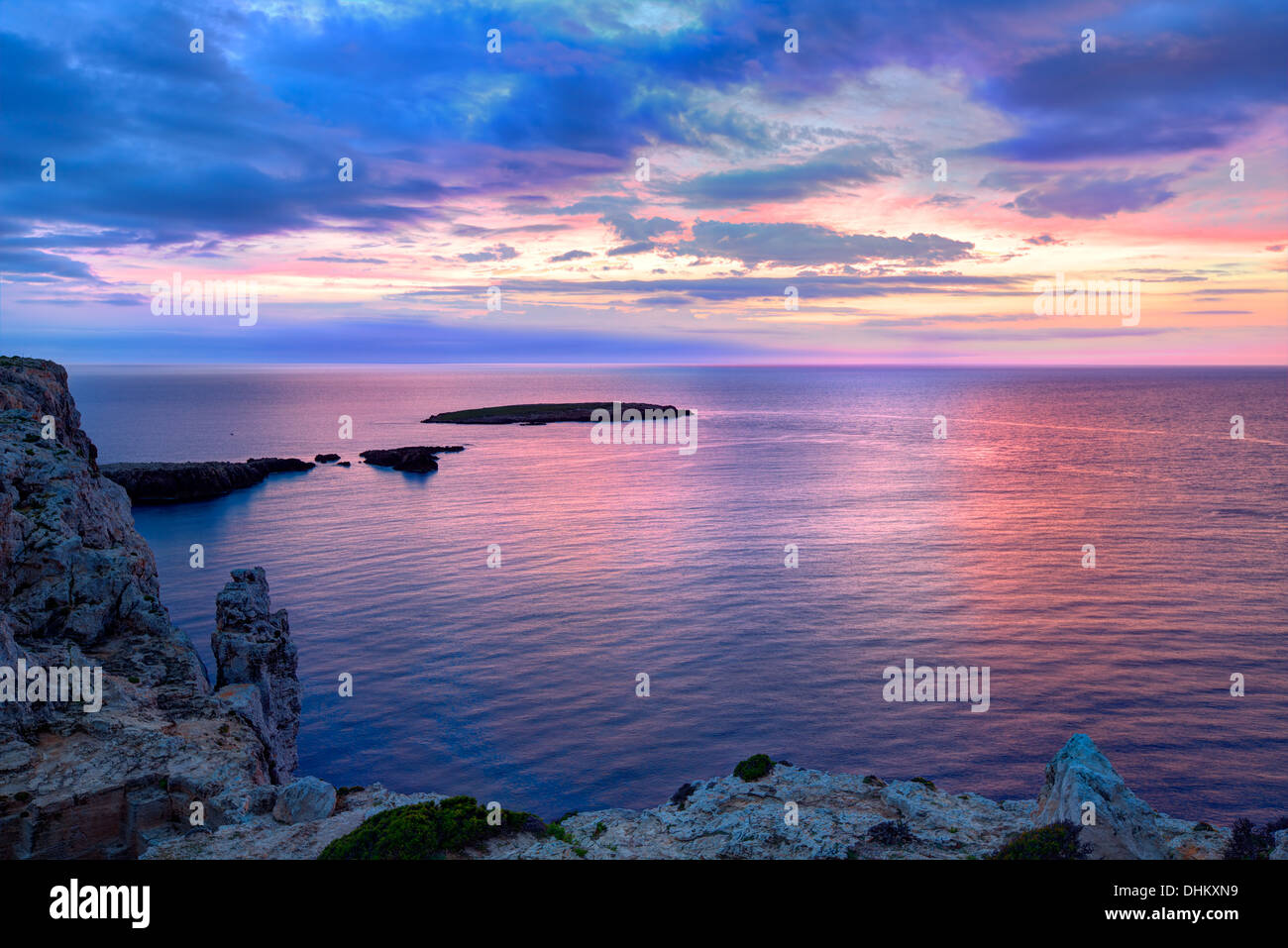 Menorca sunset in Cap de Caballeria cape at Balearic Islands es Mercadal - Stock Image