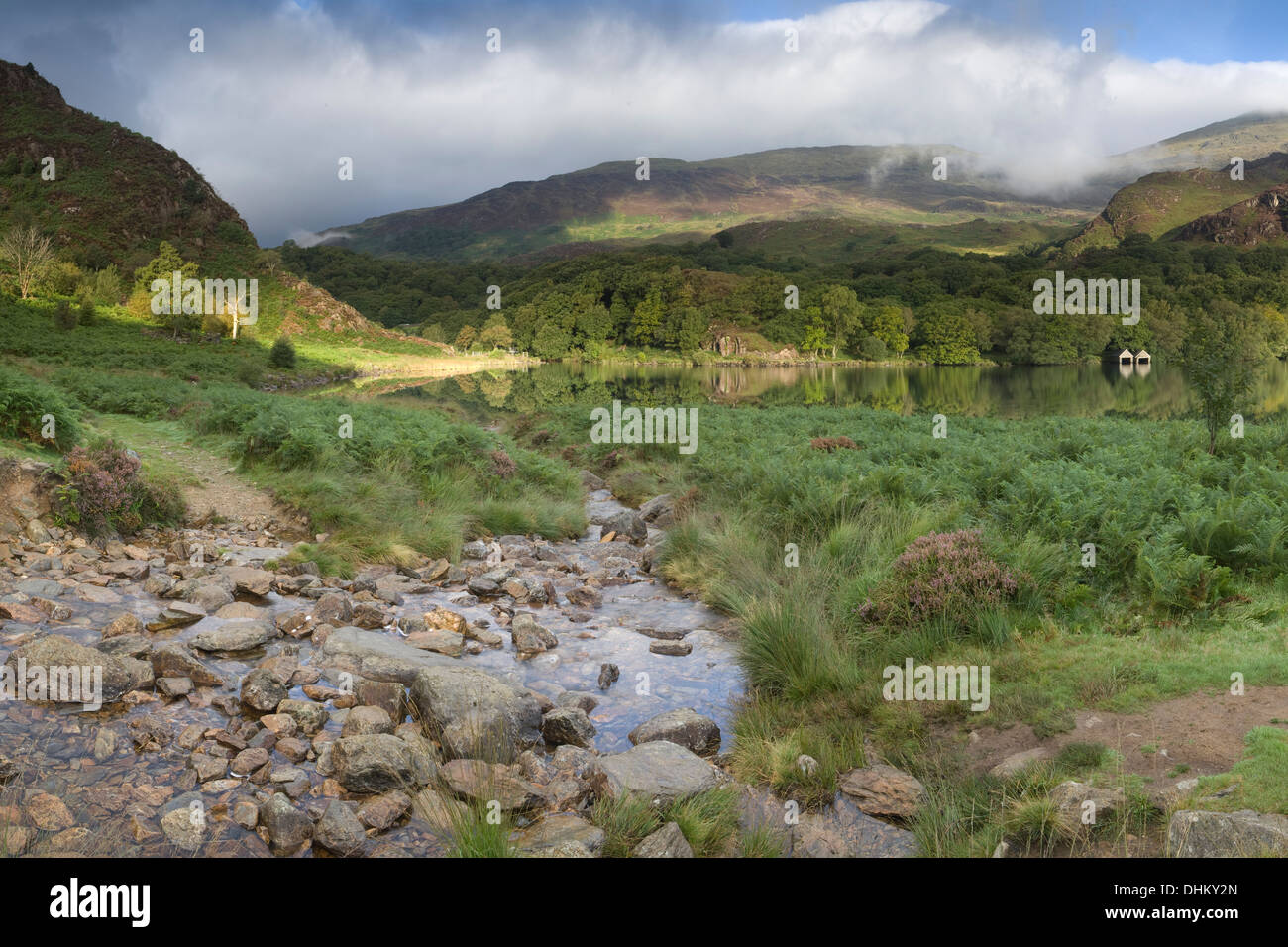 A shaft of early morning light streaks across the edge of Llyn Dinas, Snowdonia Stock Photo