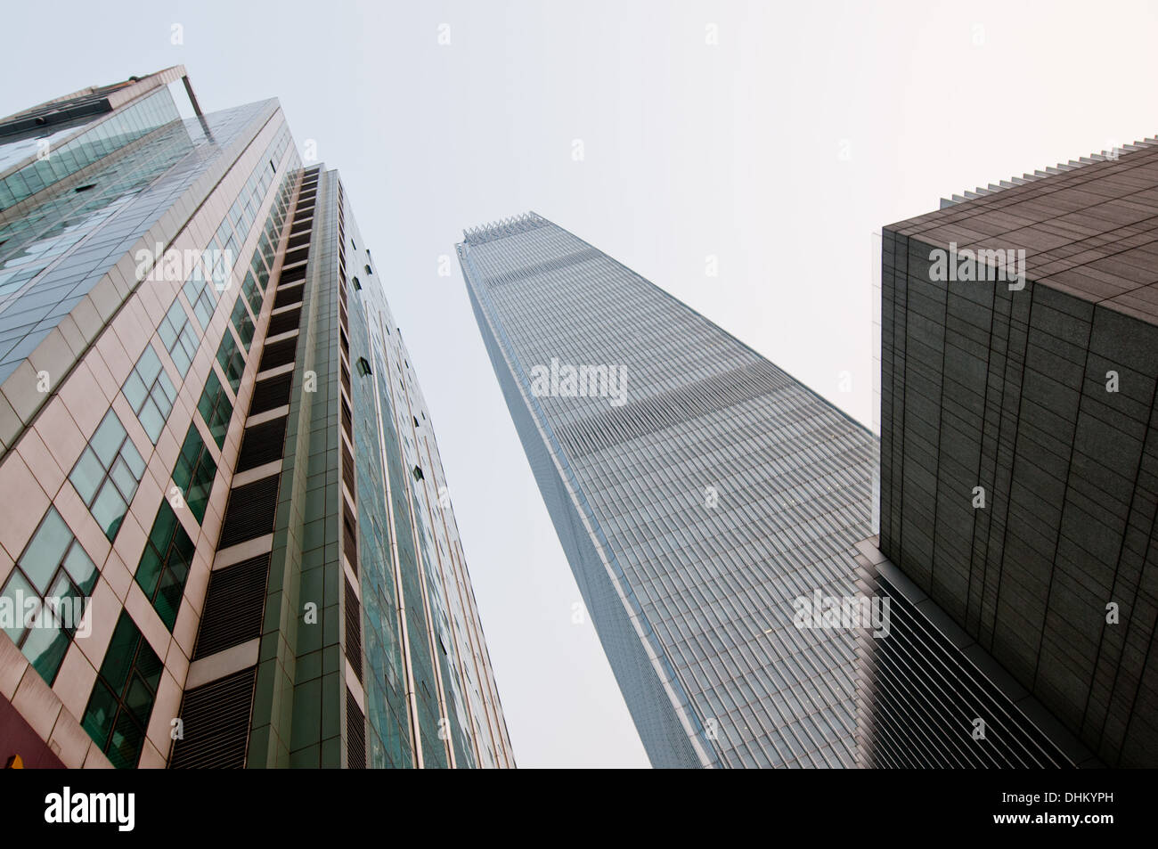 E-Tower (left) and China World Trade Center Tower 3 in Beijing Central Business District (CBD), Chaoyang, Beijing, China - Stock Image