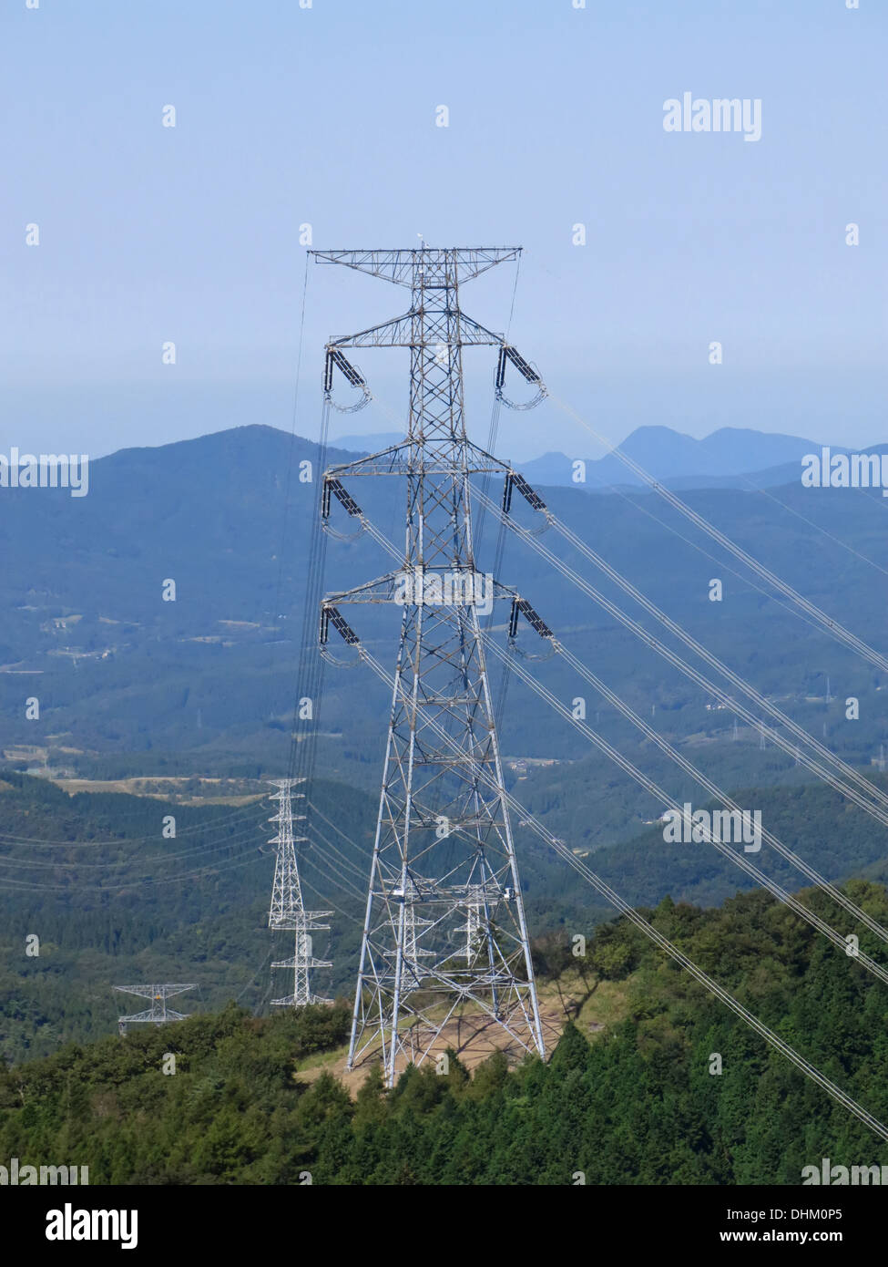 high tension power-line going through country side in Japan - Stock Image