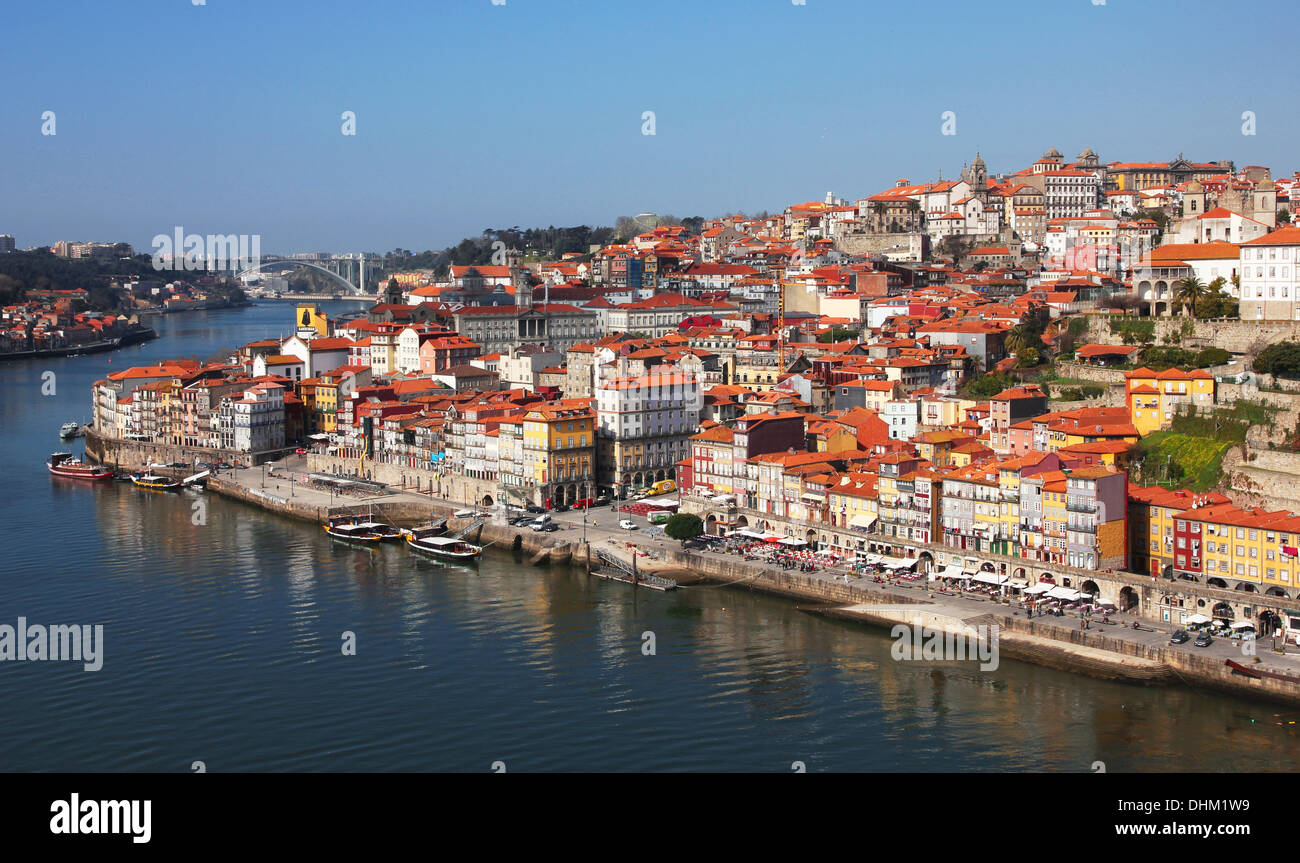Portugal. Porto city. View of Douro river embankment in the morning - Stock Image