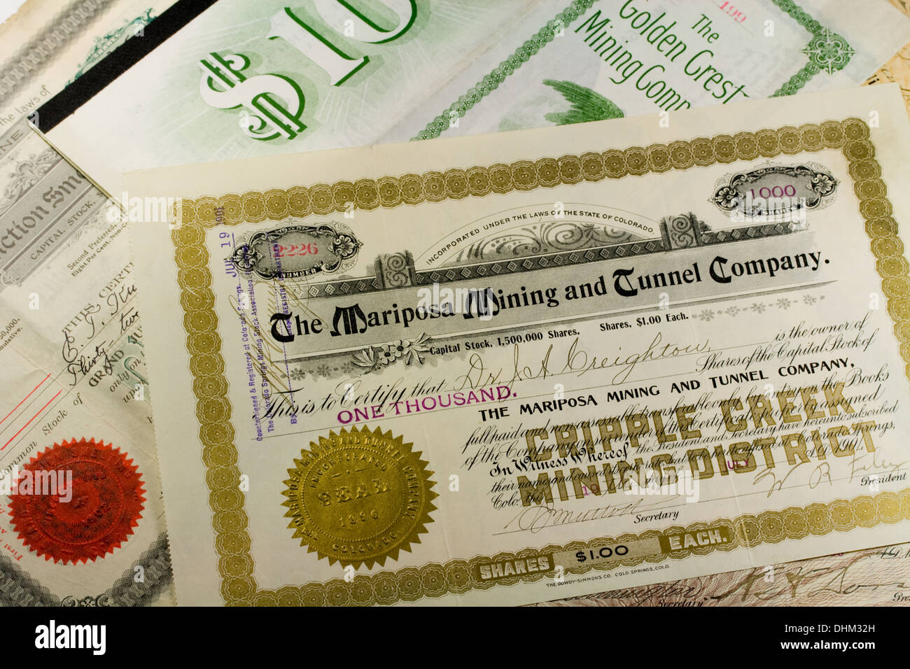 Antique Western Mining Company Stock Certificates and Bonds - USA - Stock Image