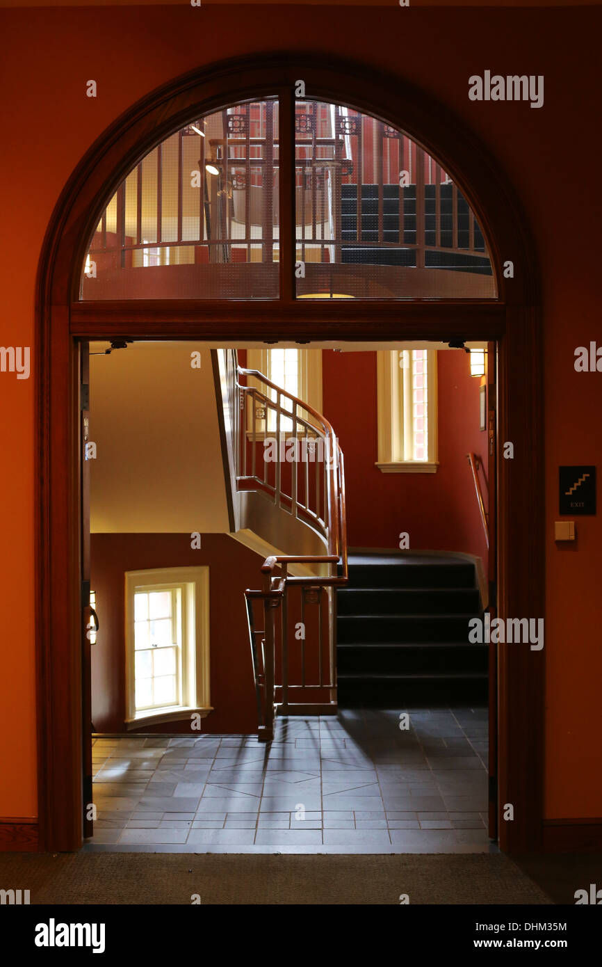 Staircase at Austin Hall, Romanesque Revival university building at Harvard Law School, Cambridge, MA, USA. - Stock Image