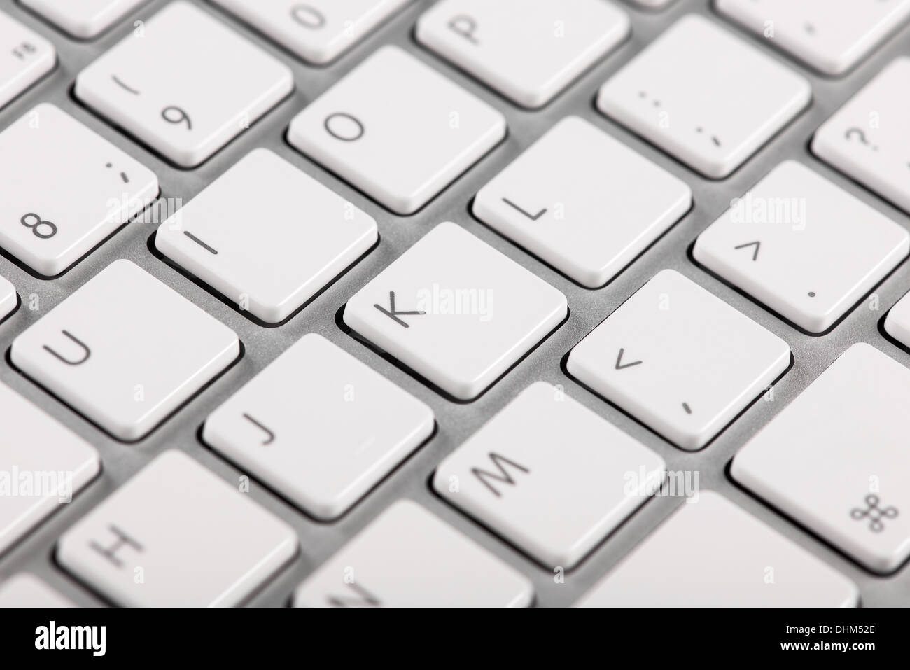 Close-up computer keyboard keys with bokeh effect - Stock Image