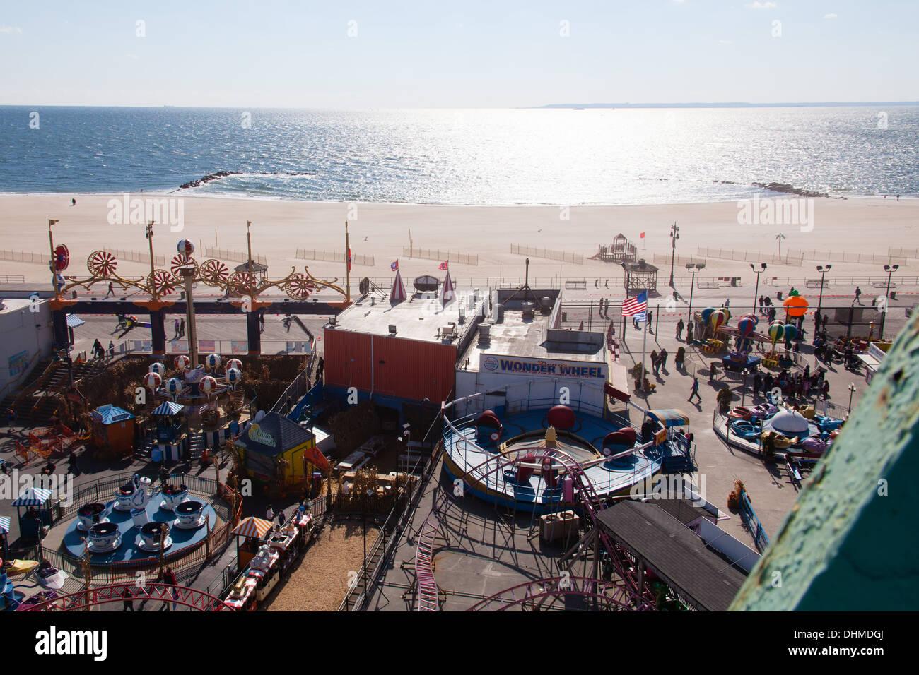 Coney island beach in October, Coney island, Brooklyn, New York, United States of America. - Stock Image