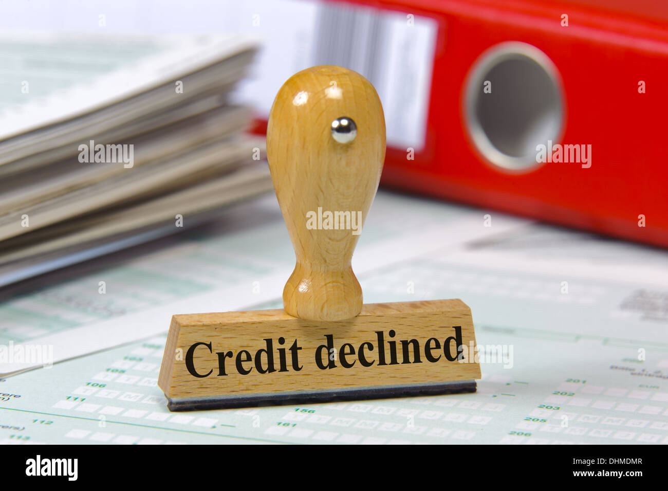 rubber stamp marked with credit declined - Stock Image