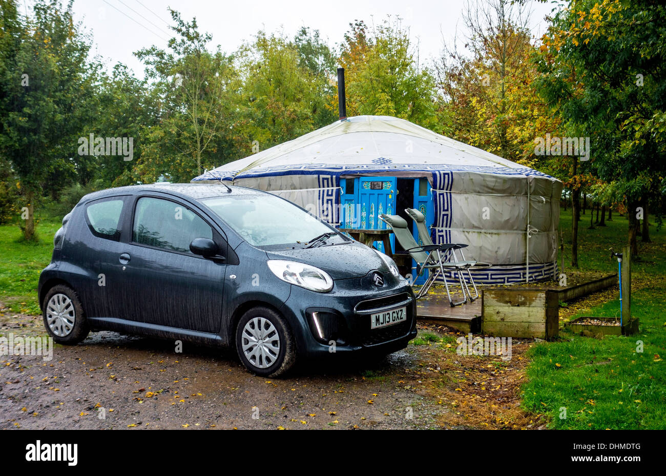 Yurt holiday. Out of season holiday in a cosy Mongolian Yurt. Meon Springs Yurt Village Hampshire - Stock Image
