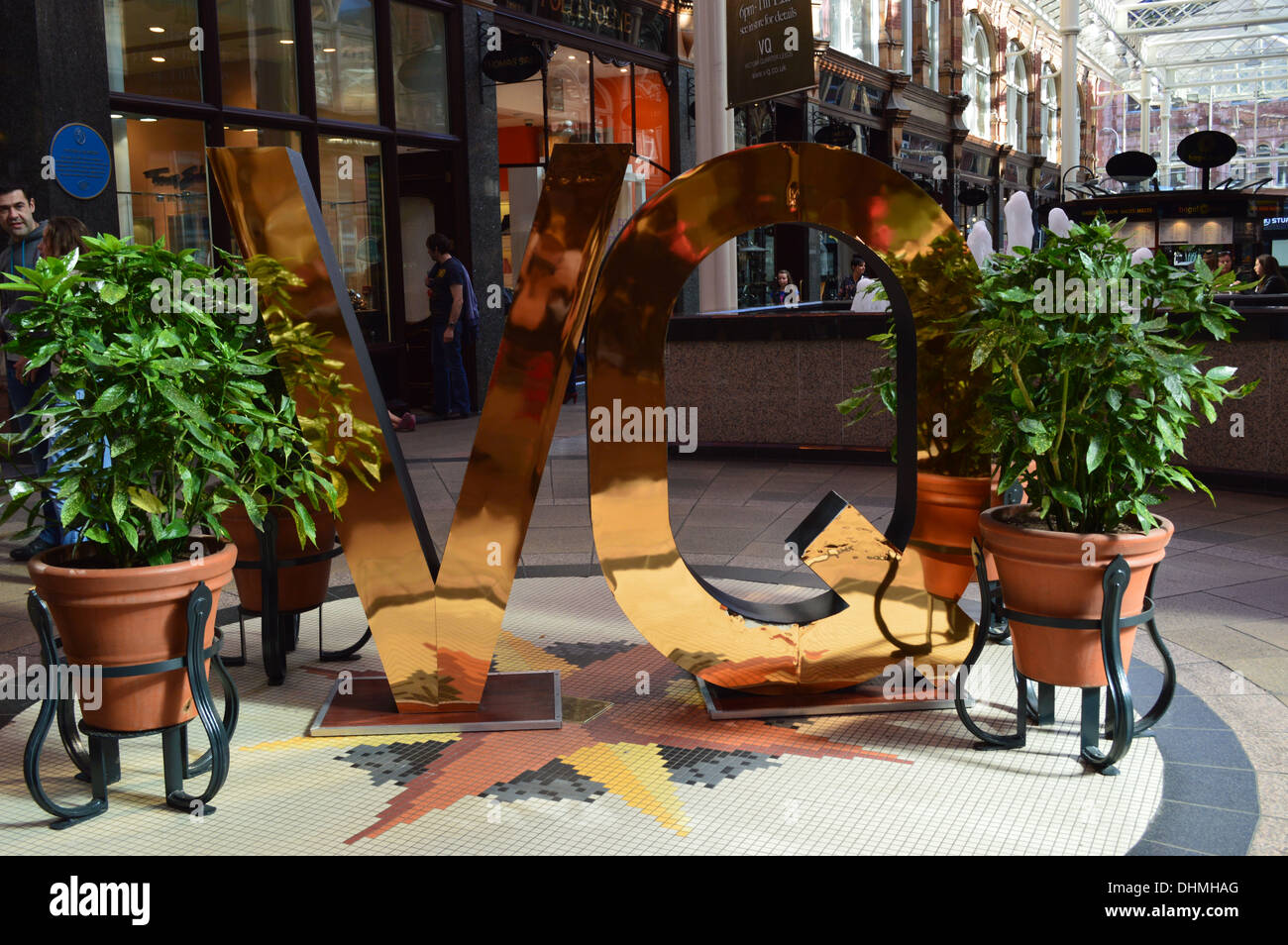 The VQ sign depicting the Victorian Quarter Shopping Area in the heart of Leeds, West Yorkshire - Stock Image