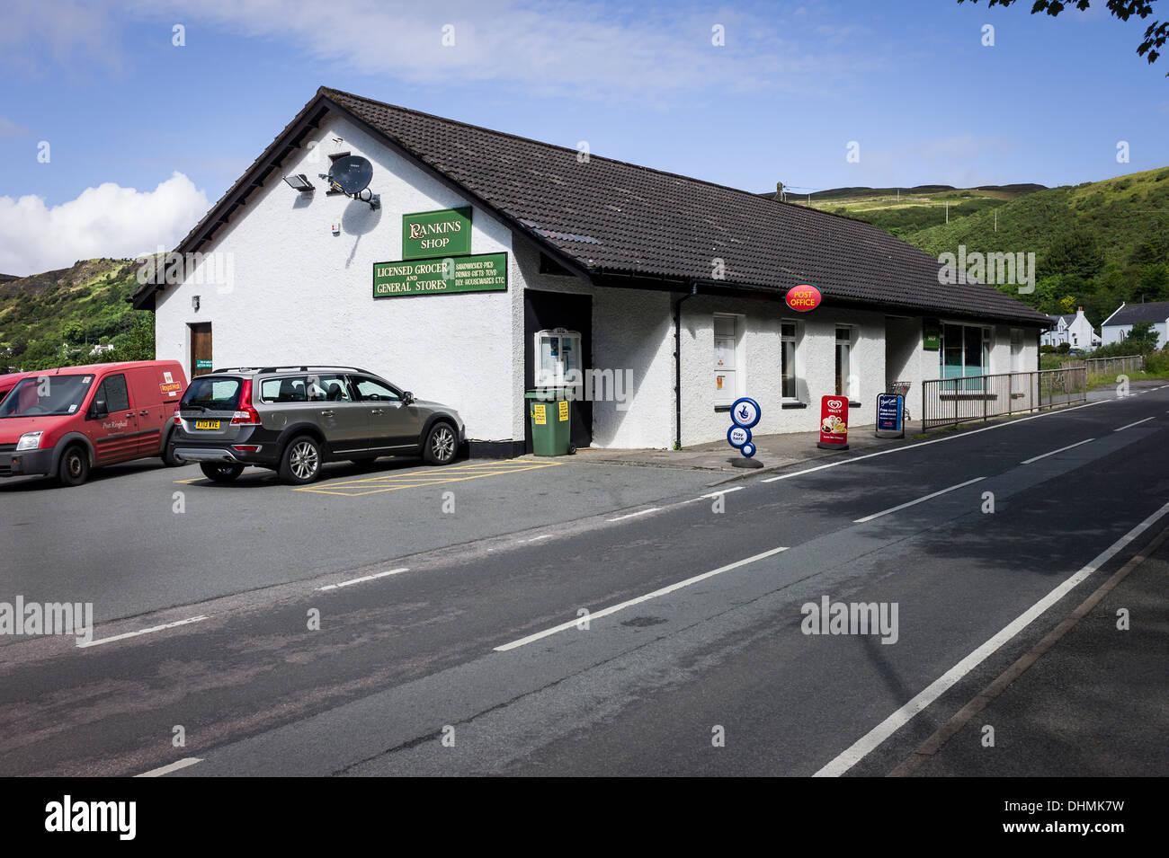Rankins village general store in Uig Skye Scotland UK EU - Stock Image