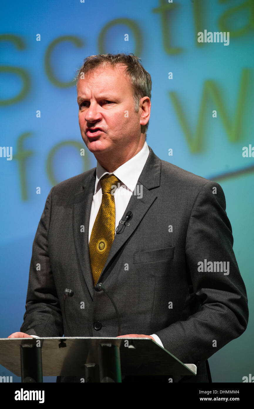 Pete Wishart SNP (Scottish Nationalist Party) MP speaking at Plaid Cymru annual party conference Aberystwyth UK October 11 2013 - Stock Image