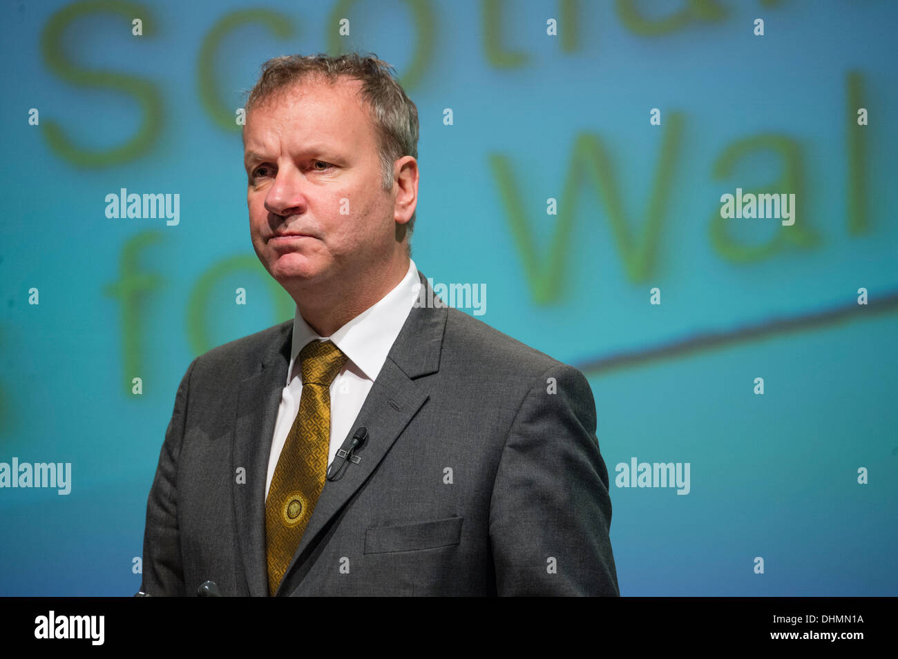 Pete Wishart SNP (Scottish Nationalist Party) MP speaking at Plaid Cymru annual party conference Aberystwyth UK Stock Photo