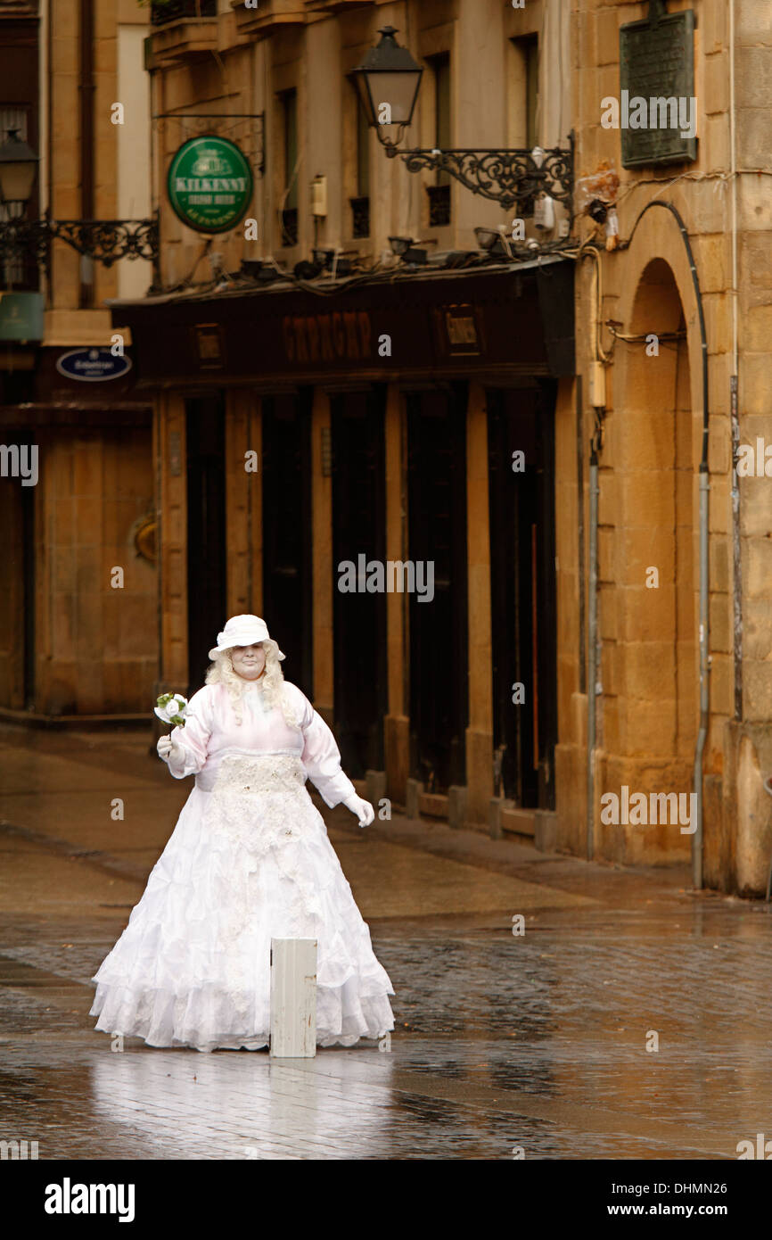 Bride's mime on the streets of Donostia - San Sebastián, Basque Country Stock Photo