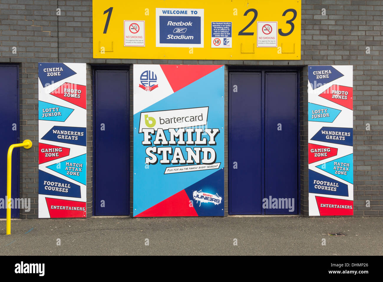 Brightly coloured, entrance to the Family Stand at the Reebok Stadium (now the Macron stadium) Horwich, home of Stock Photo