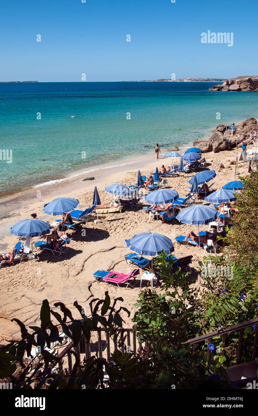 Makris Gialos Beach. - Stock Image
