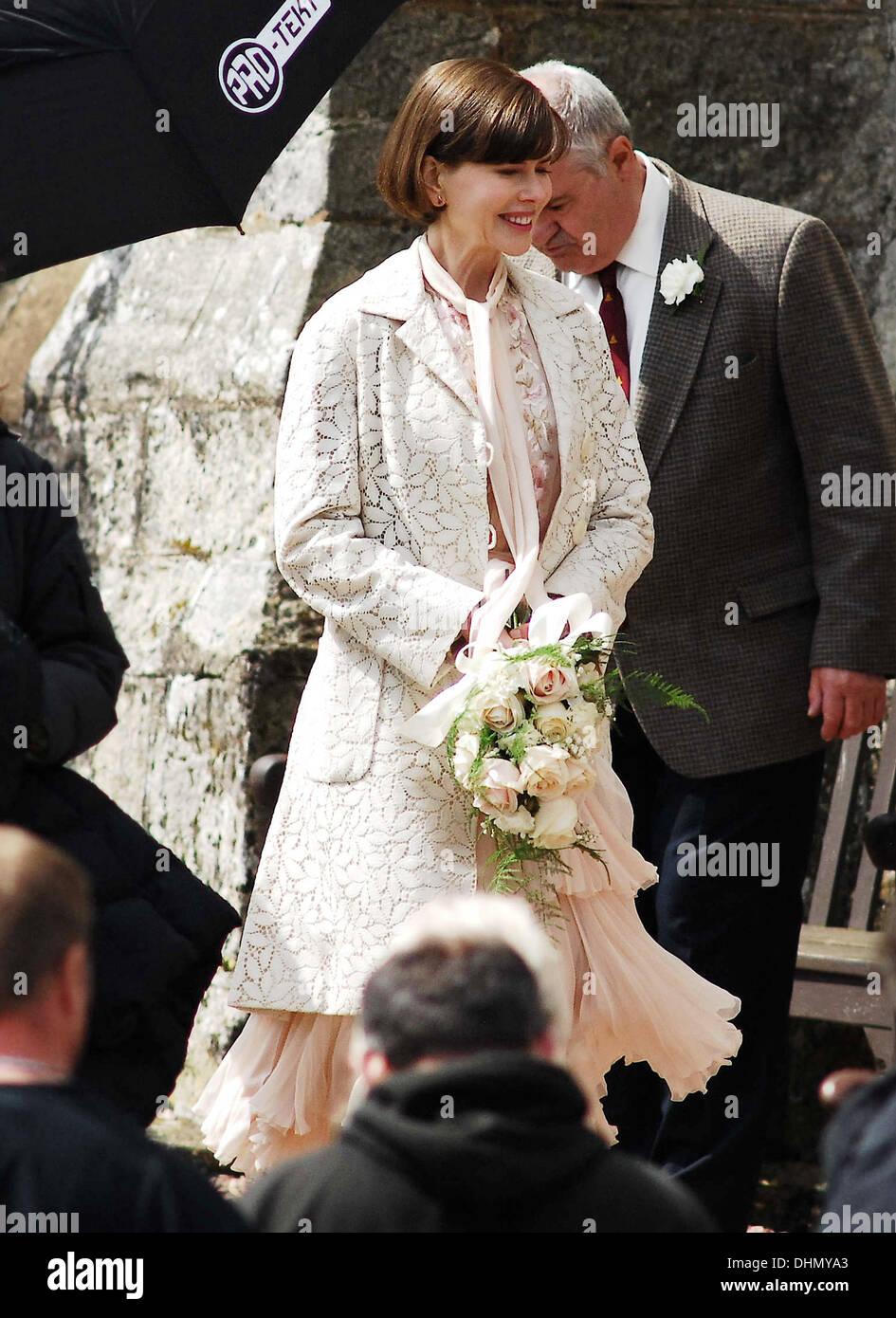 Nicole Kidman Filming A Wedding Scene Of The New Movie The Railway