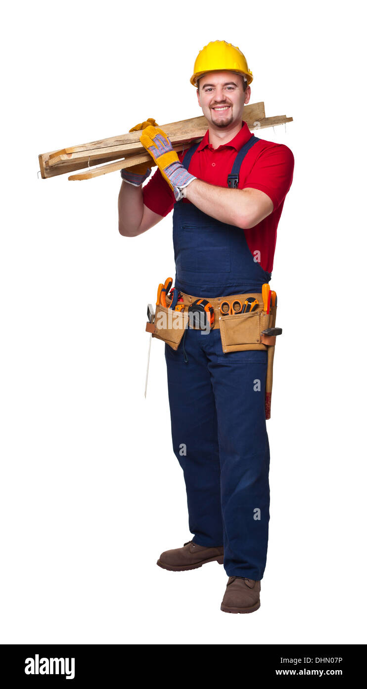 portrait of smailing manual worker on white background - Stock Image
