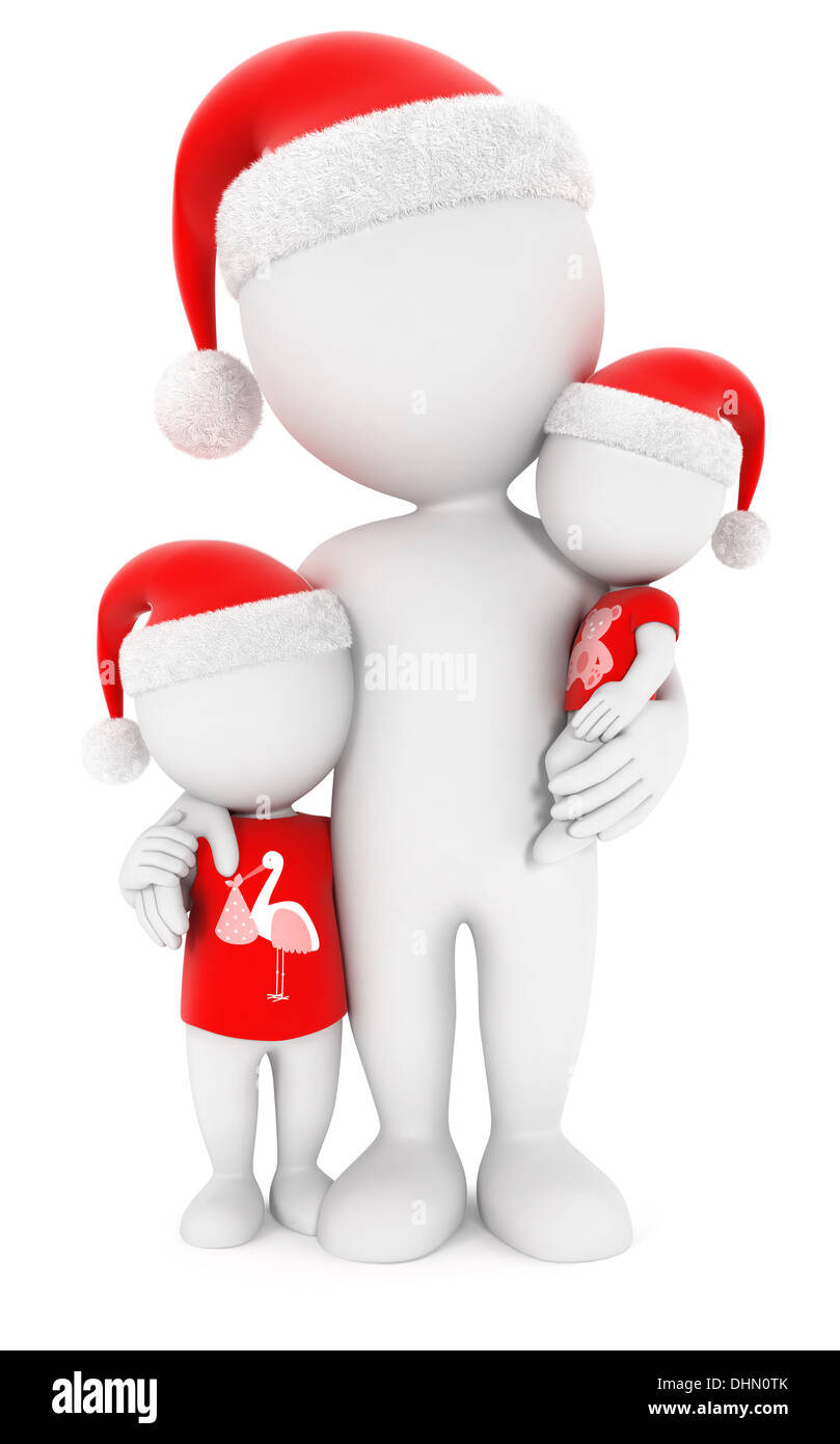 3d white people family christmas, isolated white background, 3d image Stock Photo