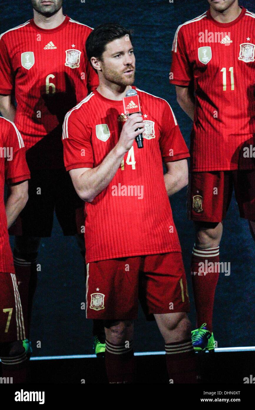 9b1bc8f23 Xabi Alonso answering questions at the Adidas presentation of The Spanish  National Football Team kit for the 2014 World Cup at the Teatro Compac on  Nov ...