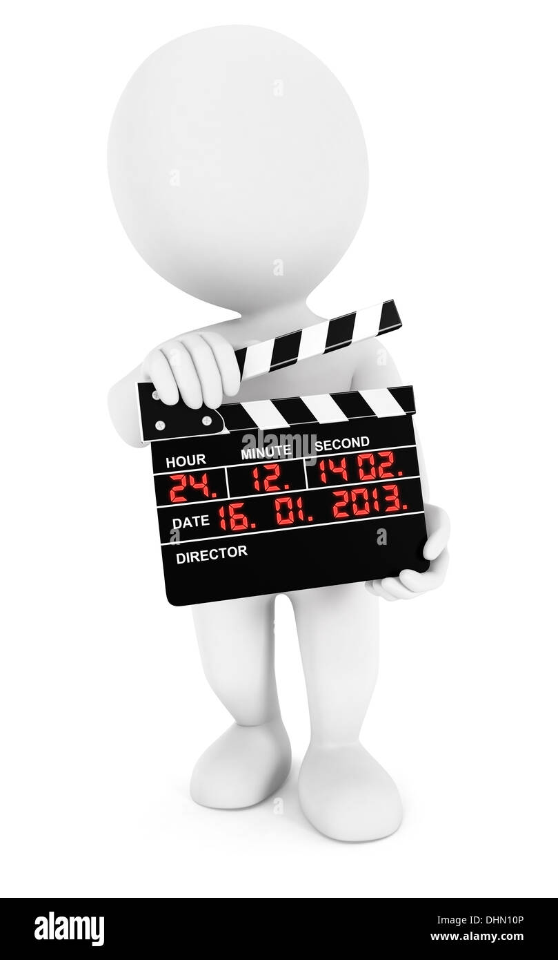 3d white people movie clapper, isolated white background, 3d image Stock Photo
