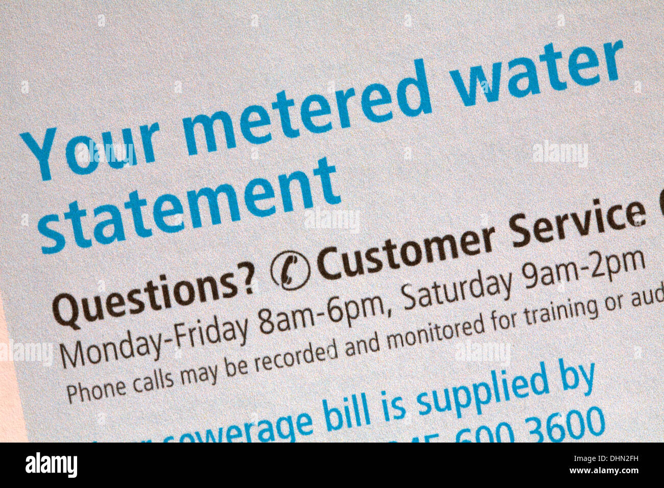 Your metered water statement information on water bill from sembcorp bournemouth water - Stock Image