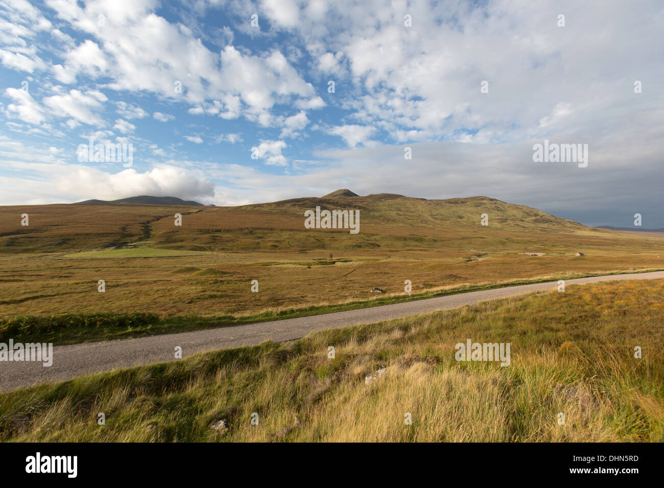 Inchkinloch, Scotland. Picturesque view of the single track A836 Parliamentary road from Bonar Bridge to Tongue. Stock Photo