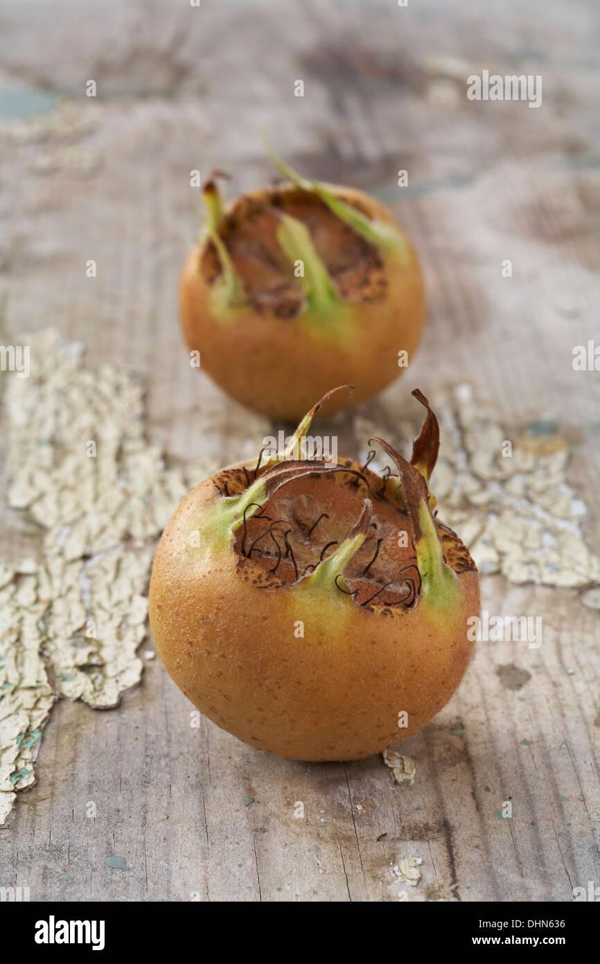 Medlar Tree Fruit Mespilus Germanica laying on wood surface - Stock Image