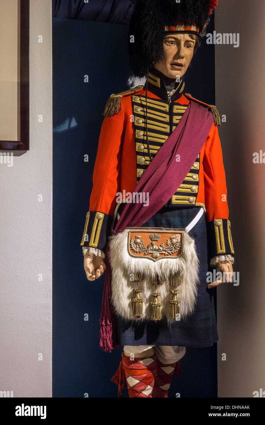 British 42nd Royal Highlanders uniform with kilt of the 1815 Napoleonic war, the Battle of Waterloo, Wellington Museum, Belgium - Stock Image