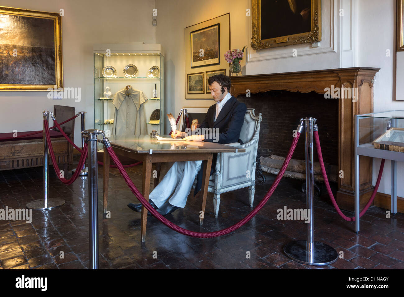 Arthur Wellesley, commander of allied armies in his headquarters during 1815 Battle of Waterloo, Wellington Museum, Belgium - Stock Image