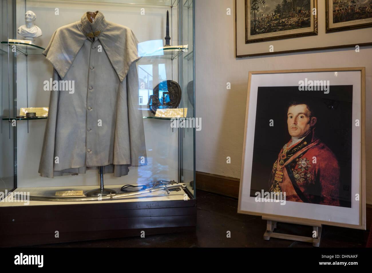 Portrait painting and cloak of Wellesley, commander during the Napoleonic war, Battle of Waterloo, Wellington Museum, Belgium - Stock Image