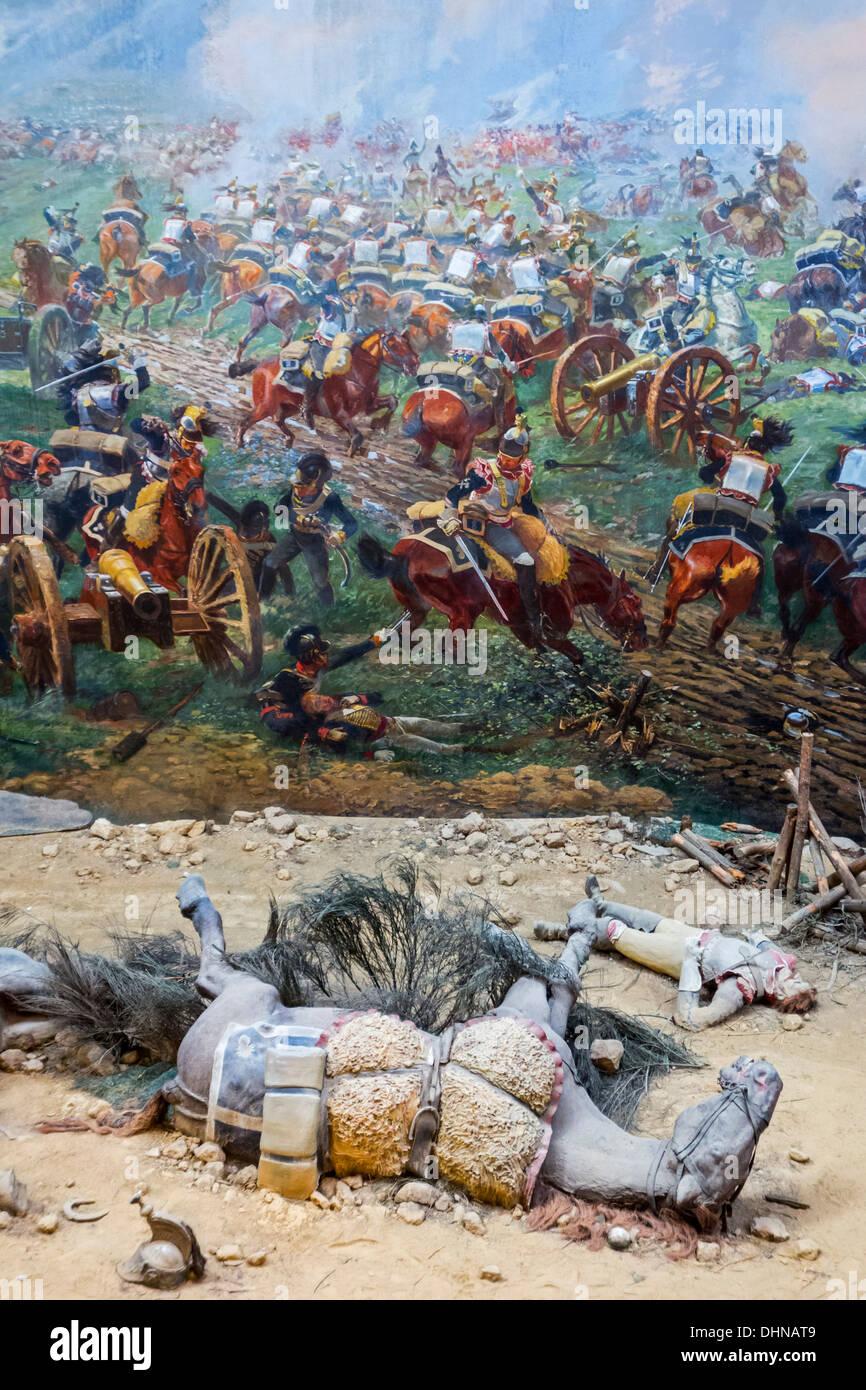 Panorama, museum showing 360° fresco of 1815 battlefield scenes of Napoleonic war, Battle of Waterloo, Braine-l'Alleud, Belgium - Stock Image