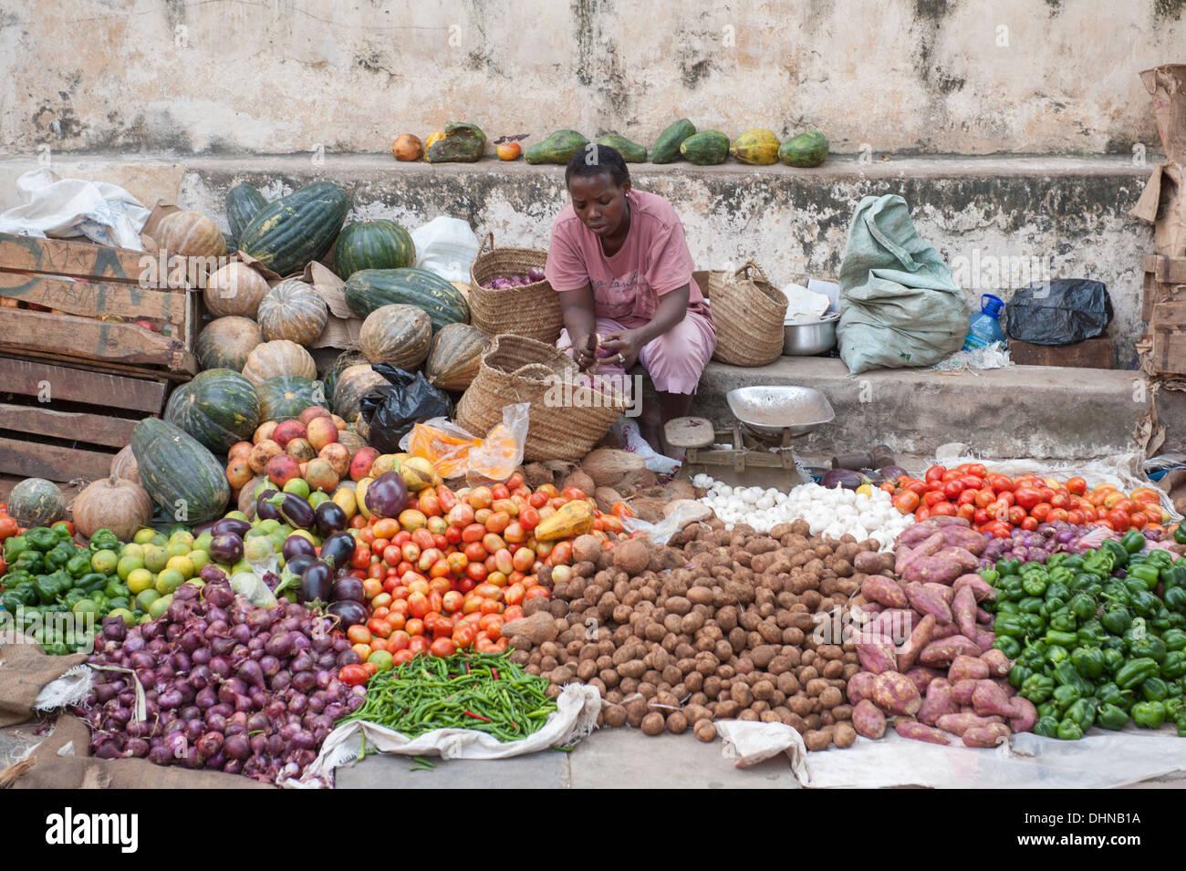 The market of Lamu Town, Kenya Stock Photo