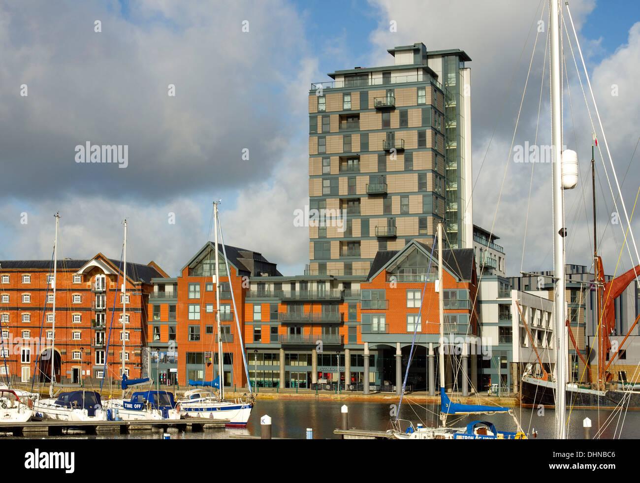 Ipswich wet dock redevelopment - Stock Image