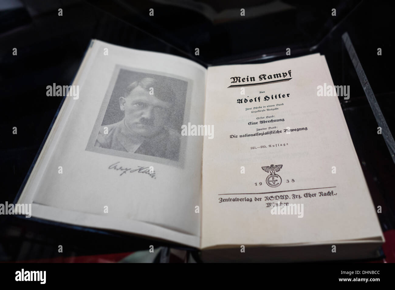 The German book Mein Kampf / My Struggle, autobiographical manifesto by WW2 Nazi leader Adolf Hitler - Stock Image