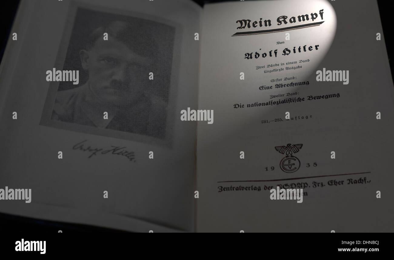The German book Mein Kampf / My Struggle, autobiographical manifesto by Nazi leader Adolf Hitler - Stock Image