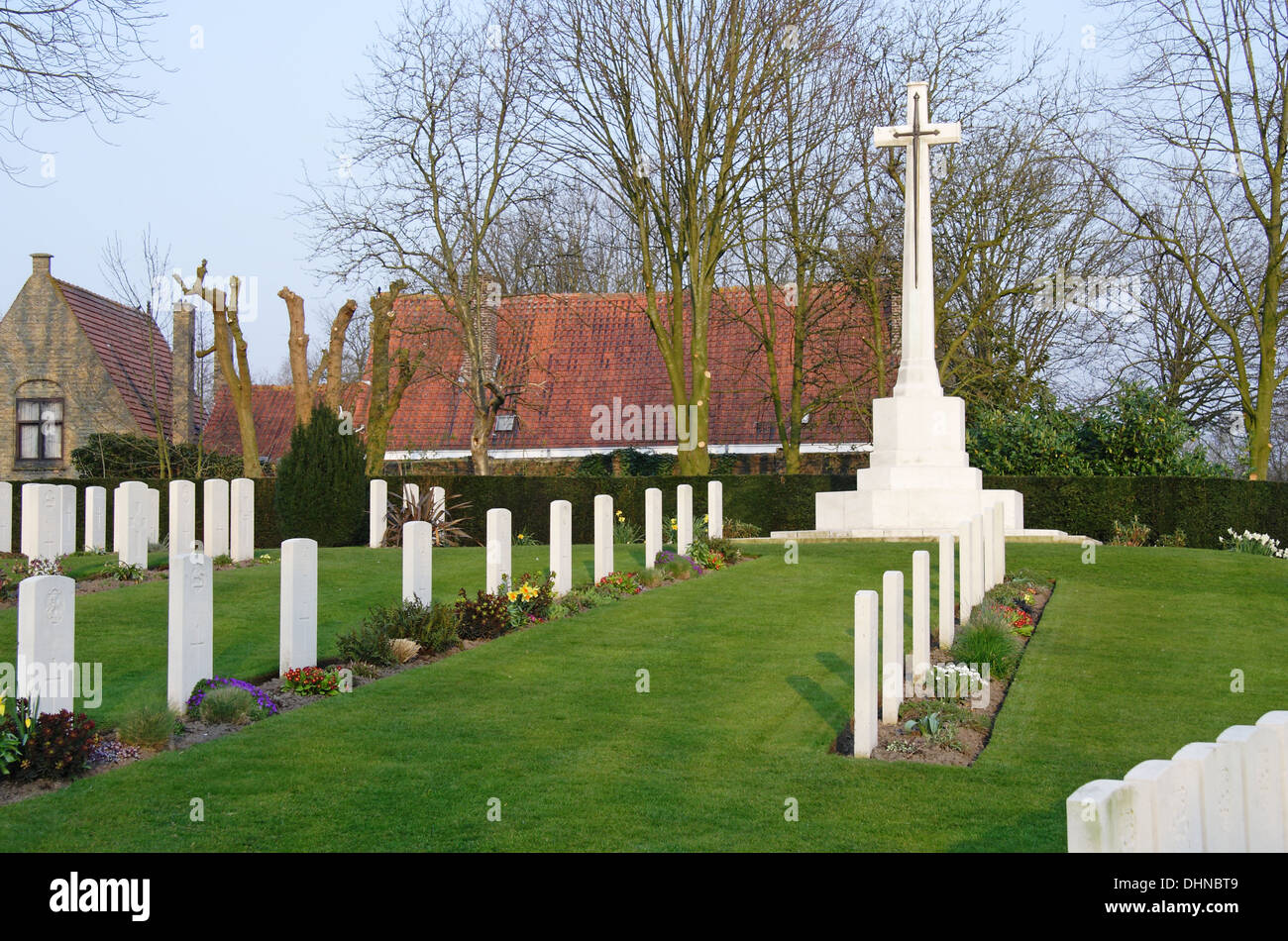 Ramparts World War One Commonwealth War Cemetery in Ypres, Belgium Stock Photo