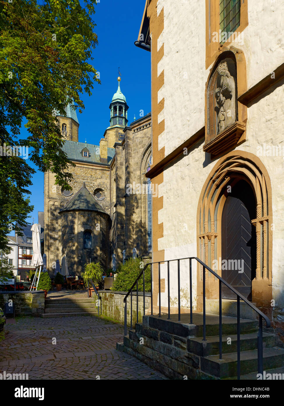 Town Hall and Church of St. Cosmas, Goslar, Germany - Stock Image