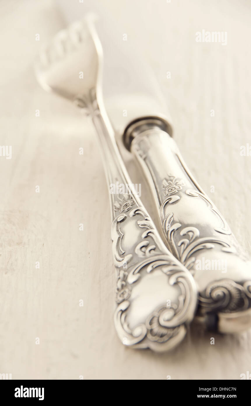 silverplated flatware - Stock Image