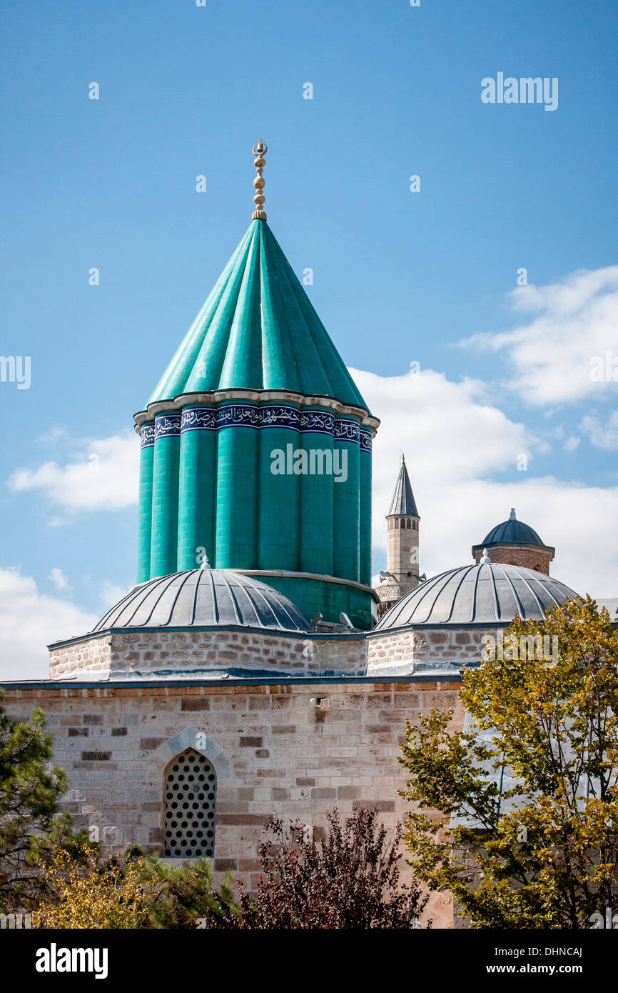 View of the domes and minarets of the Mevlana Museum, historic centre of the  Whirling Dervishes in Konya, Turkey. - Stock Image