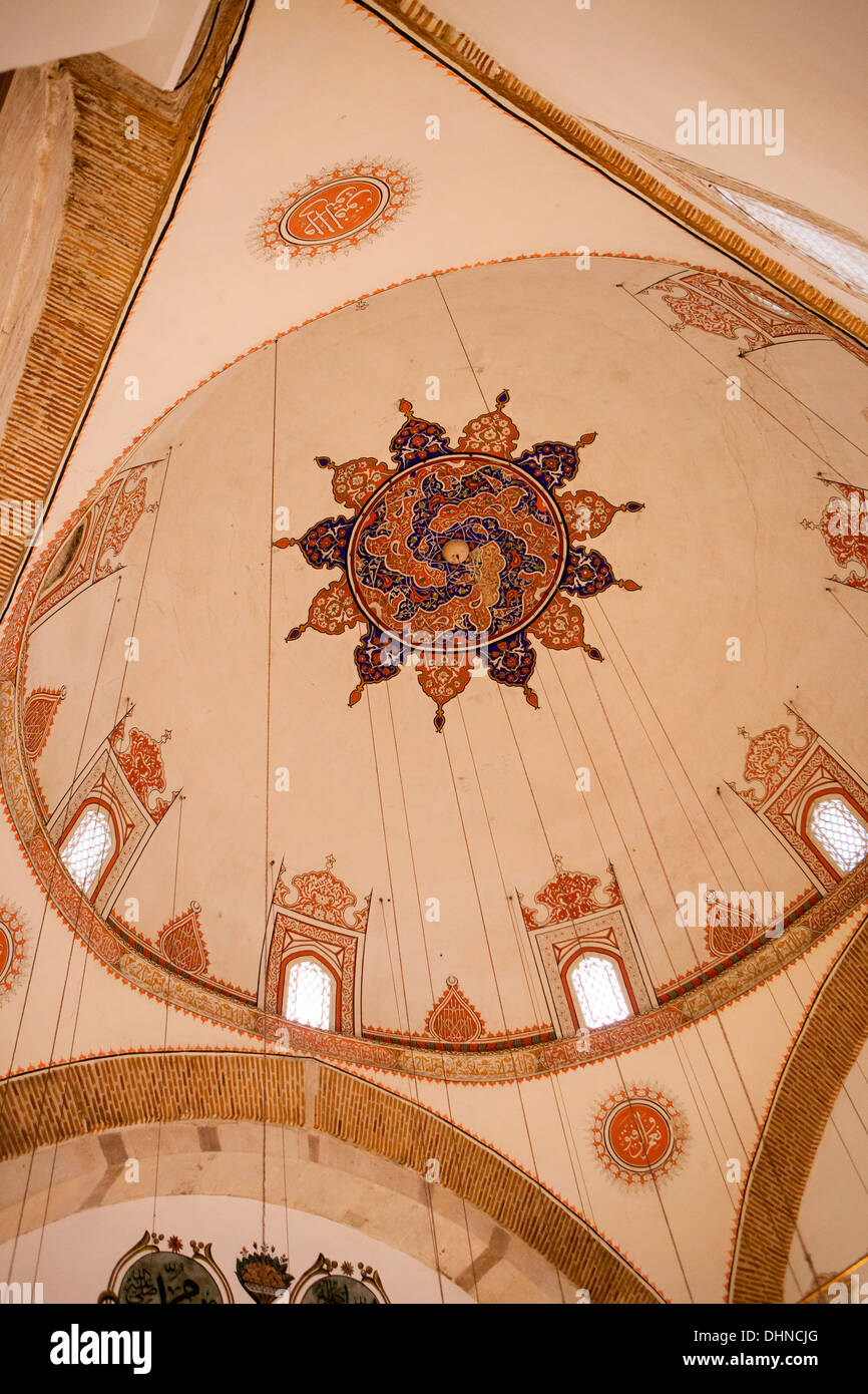 View of the interior domes inside the Mevlana Museum, historic centre of the  Whirling Dervishes in Konya, Turkey. - Stock Image
