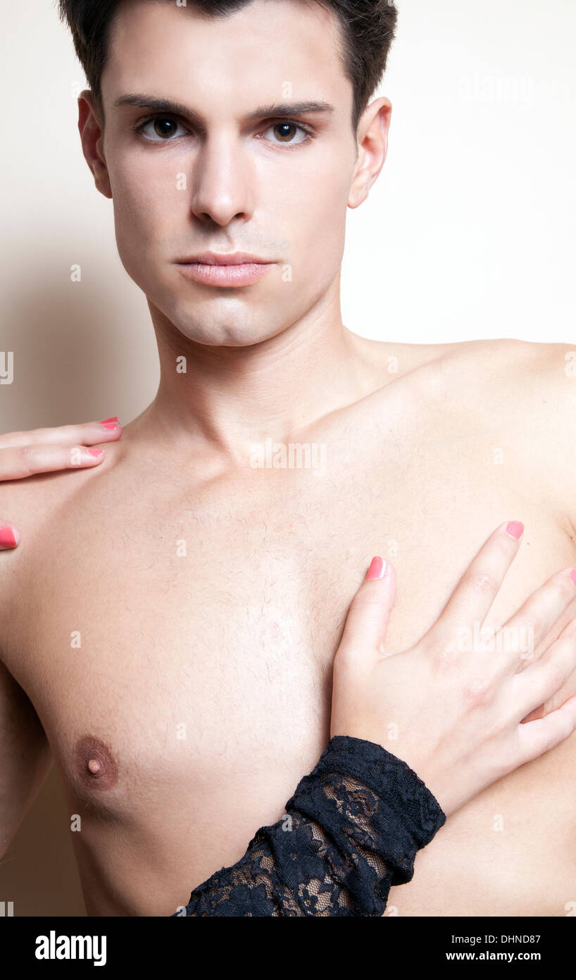 Mans chest touching woman Hands off