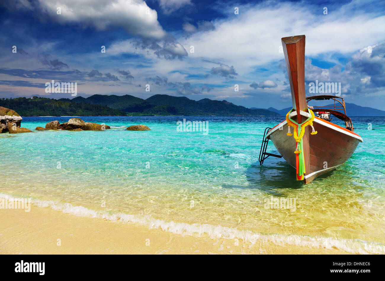 Long tail boat, Tropical beach, Andaman Sea, Thailand - Stock Image