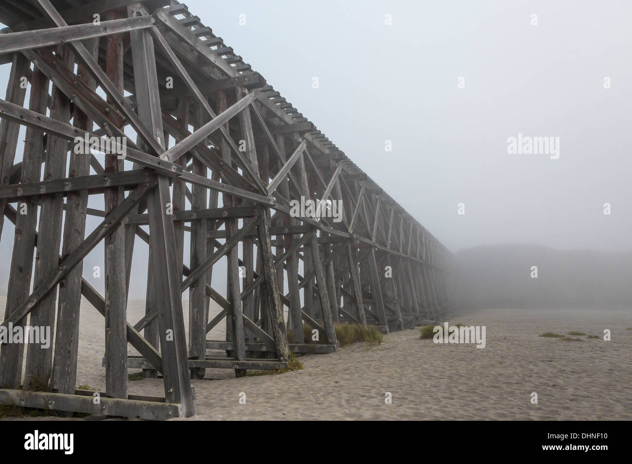 The Pudding Creek Trestle, part of the Ten Mile Beach Trail near Fort Bragg, in fog, MacKerricher State Park, California, USA - Stock Image
