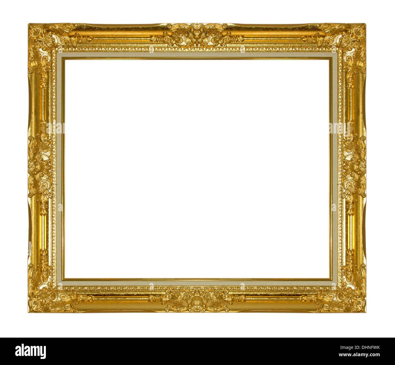 Gold vintage frame isolated on white background - Stock Image