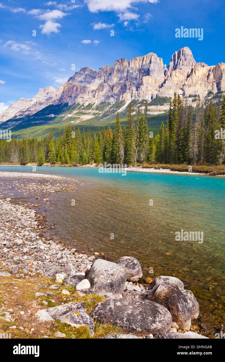 Castle Mountain behind the Bow river at castle Junction Bow Valley Parkway Banff national park canadian Rockies Alberta Canada - Stock Image