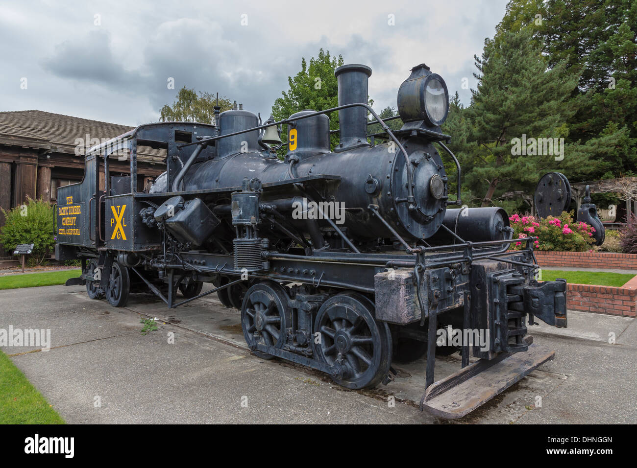 Old geared steam locomotive used for hauling logs, at Scotia Museum, in Scotia, a redwood logging company town, - Stock Image