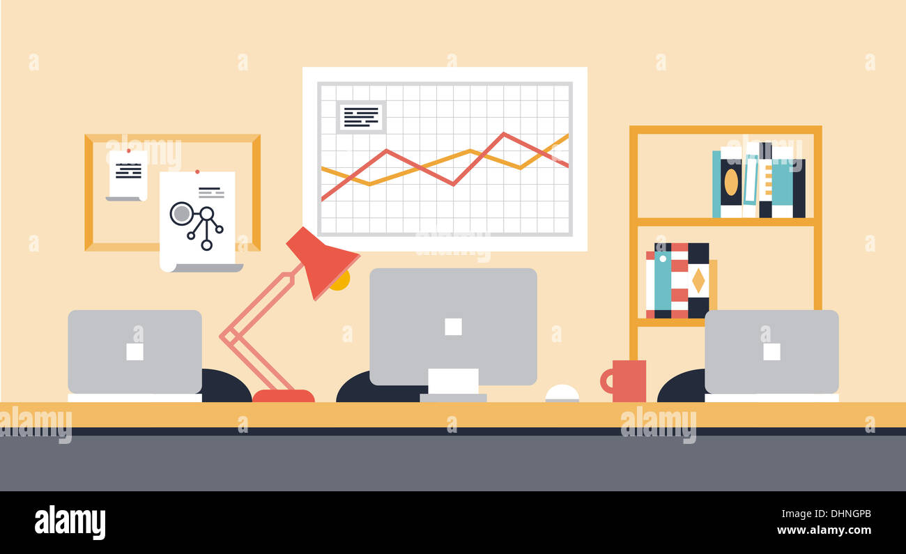 Flat illustration of stylish modern workspace interior for team collaboration or people co-working space with office objects - Stock Image