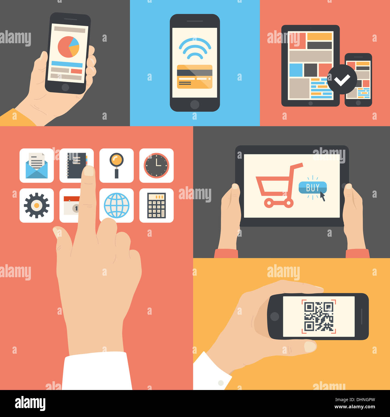 Flat illustration set of touch screen interface, mobile phone scanning qr-code, on-line purchase and e-commerce usage - Stock Image